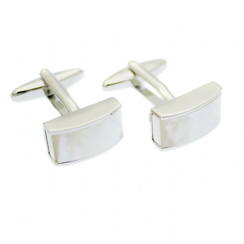 Our Mother-of-Pearl domed cufflinks in natural, iridescent white set on polished silver-tone fittings, make the perfect accessory
